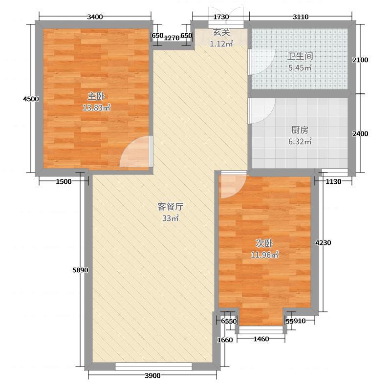 九点阳光・智谷98.00㎡B户型2室2厅1卫1厨
