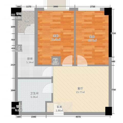 枫丹国际公寓2室1厅1卫1厨65.00㎡户型图