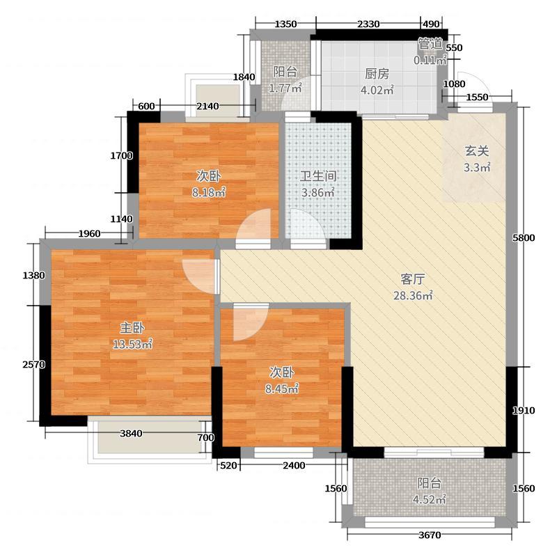 紫悦明都91.00㎡2号楼1座02单元户型3室3厅1卫1厨