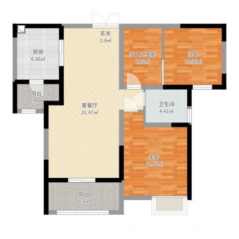 天安曼哈顿2室2厅1卫1厨96.27㎡户型图