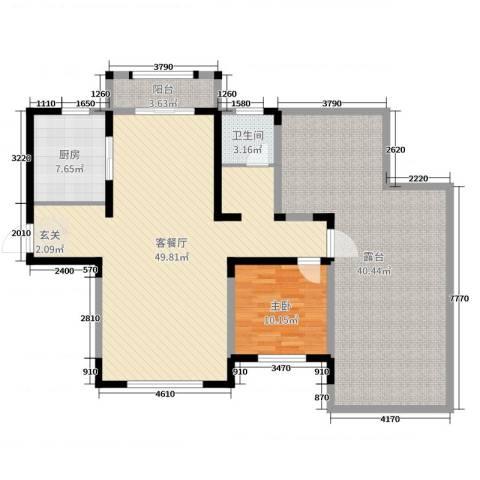 建业壹号城邦1室2厅1卫1厨114.84㎡户型图