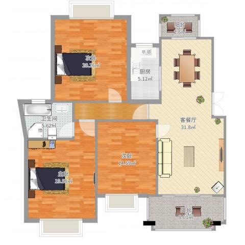国际花都丹若苑3室2厅1卫1厨140.00㎡户型图