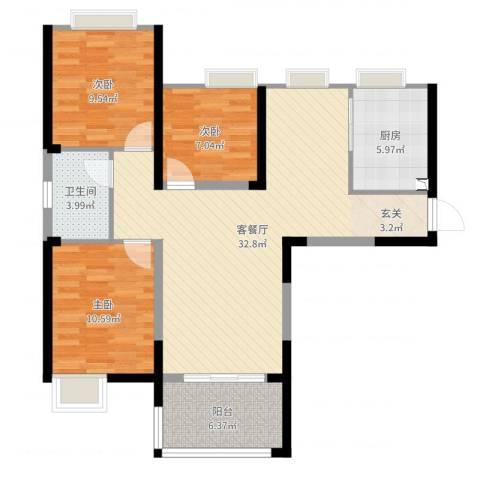 绿都温莎城堡3室2厅1卫1厨108.00㎡户型图