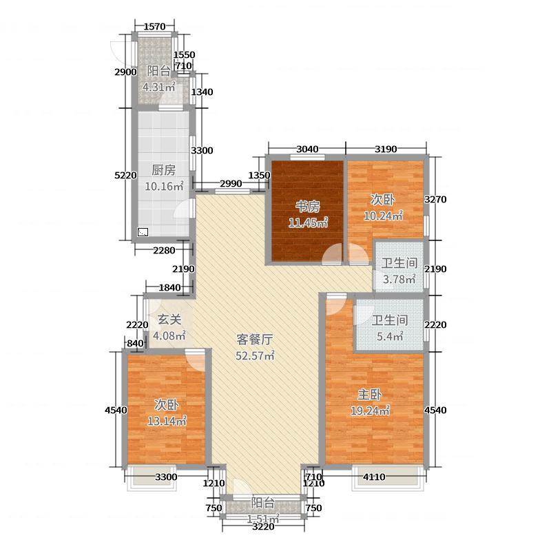 京奥港・帝景164.87㎡二期P2户型2室2厅2卫