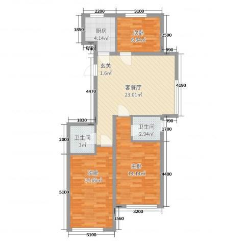 紫龙新城3室2厅2卫1厨105.00㎡户型图