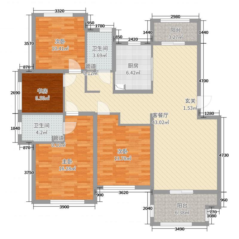绿城・嘉祥玉兰花园143.00㎡A1户型4室4厅2卫1厨