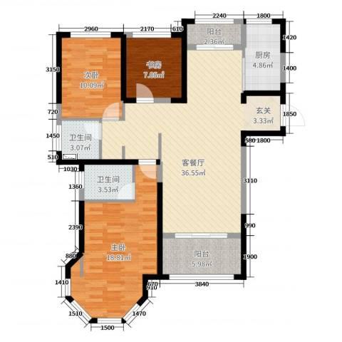 中南世纪锦城3室2厅2卫1厨115.00㎡户型图