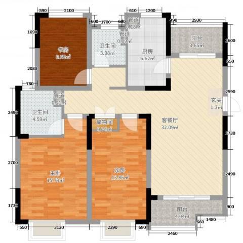 鑫苑湖居世家3室2厅2卫1厨117.00㎡户型图