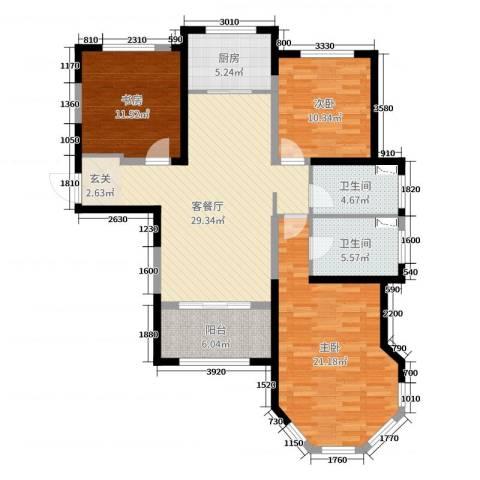 中南世纪锦城3室2厅2卫1厨117.00㎡户型图