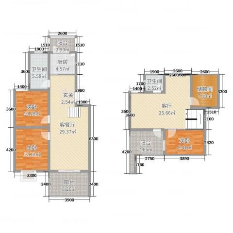 天泽水岸3室3厅2卫1厨126.00㎡户型图