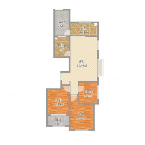 金宸公馆3室1厅1卫1厨113.00㎡户型图