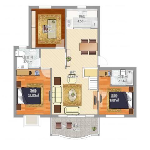 水岸绿苑3室1厅2卫1厨97.00㎡户型图