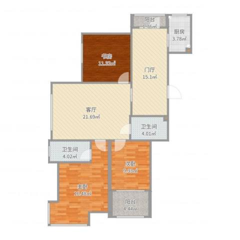 滨才城林郡3室1厅2卫1厨115.00㎡户型图