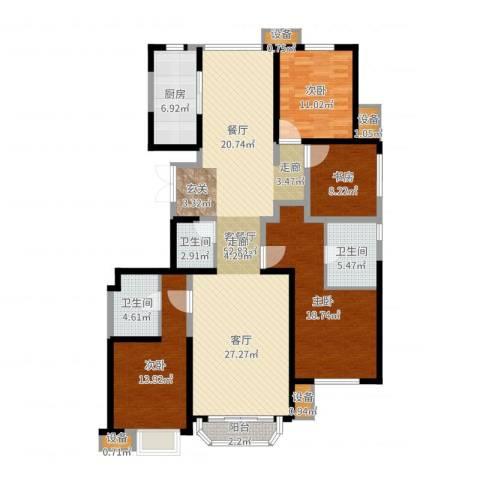 中冶・德贤公馆4室2厅3卫1厨163.00㎡户型图