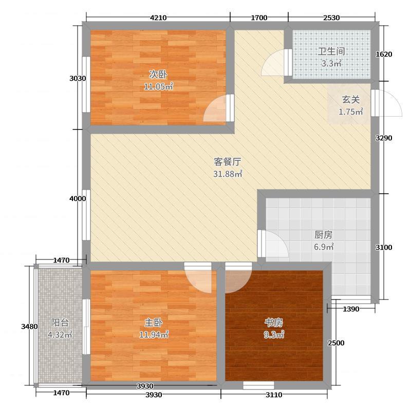 盛锦花园100.30㎡B-3户型3室3厅1卫1厨