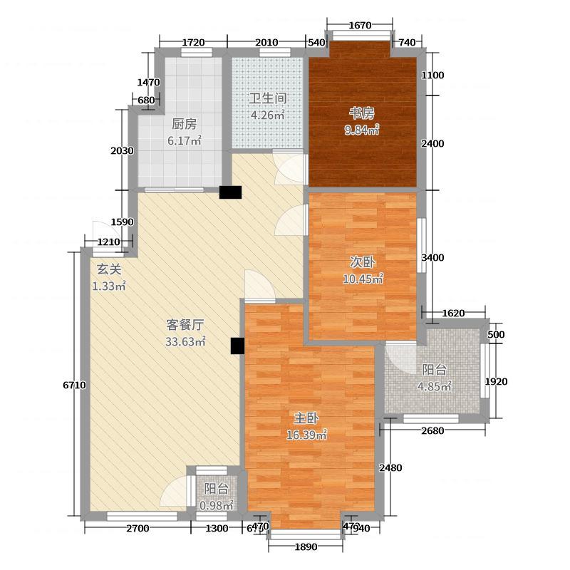 ����˼�119.85㎡E户型3室3厅1卫1厨