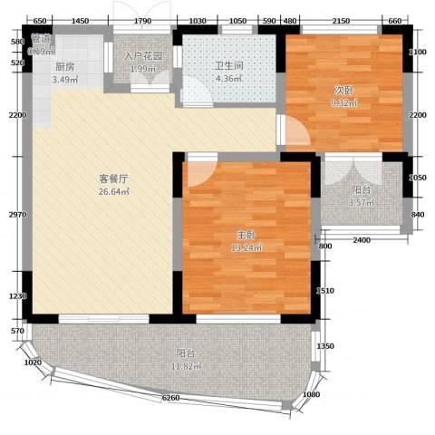 五指山圣河湾2室2厅1卫0厨71.13㎡户型图