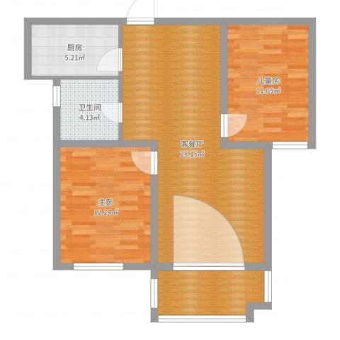 月城熙庭2室2厅1卫1厨83.00㎡户型图