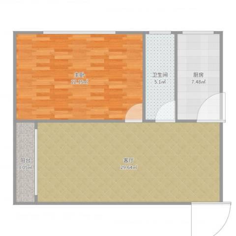 华府新天地1室1厅1卫1厨84.00㎡户型图