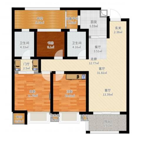 龙湖时代天街3室1厅7卫1厨117.00㎡户型图