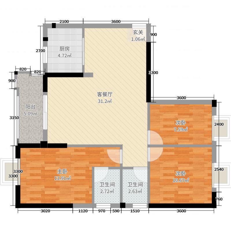 沸城国际107.29㎡3号楼5号户型3室3厅2卫1厨