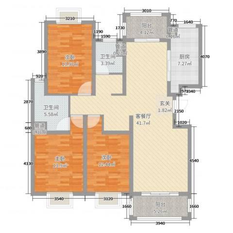翡翠・公馆3室2厅2卫1厨108.40㎡户型图