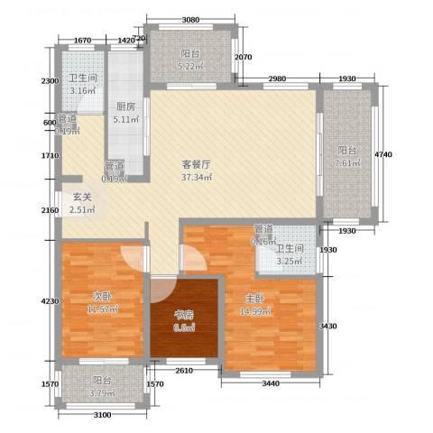 翡翠・公馆3室2厅2卫1厨99.18㎡户型图