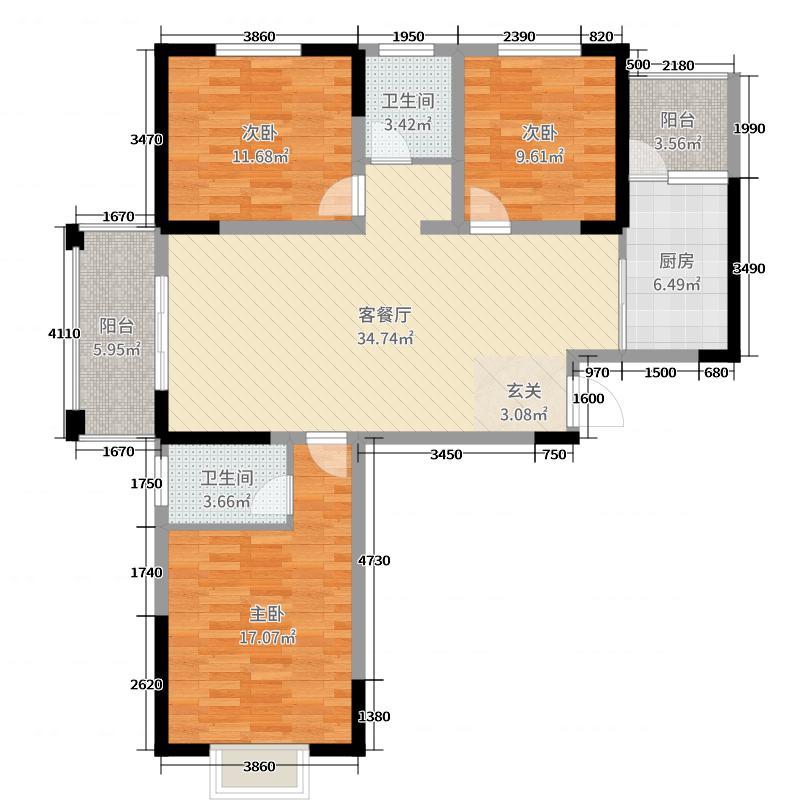 金色家园119.09㎡未标题-3户型3室3厅1卫1厨