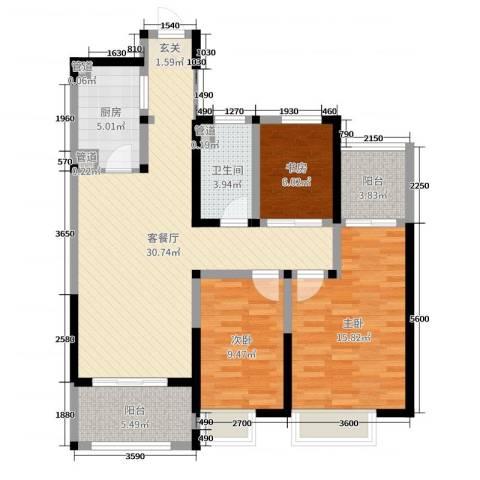 和昌运河尚郡3室2厅1卫1厨101.00㎡户型图