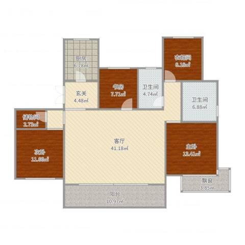 富力十号3室1厅2卫1厨155.00㎡户型图