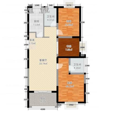 和昌运河尚郡3室2厅2卫1厨120.00㎡户型图