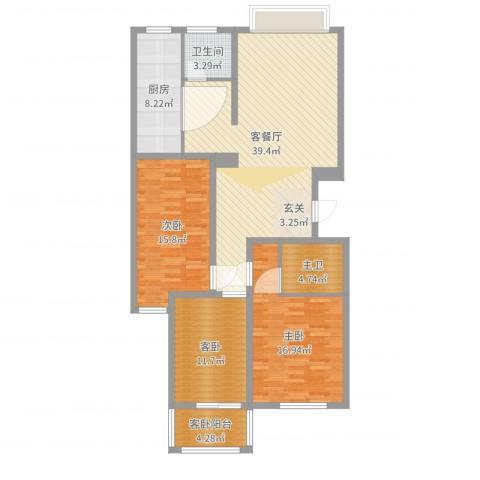 天阔逸城2室2厅1卫1厨130.00㎡户型图