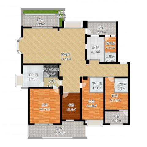 天正滨江4室2厅4卫1厨265.00㎡户型图