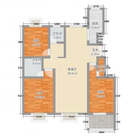 香颂3室2厅2卫1厨120.00㎡户型图