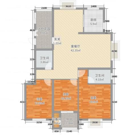 香颂3室2厅2卫1厨132.00㎡户型图