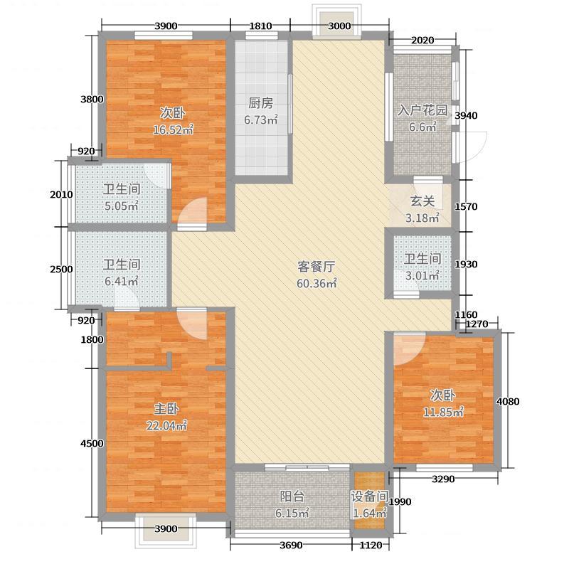 香颂179.74㎡V户型3室3厅2卫1厨