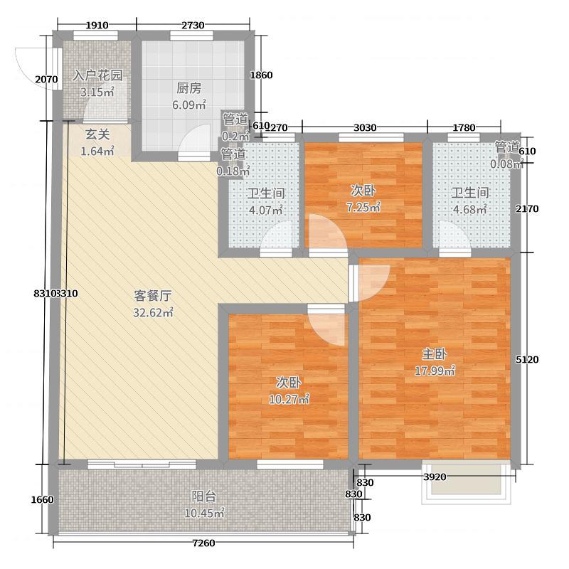 华润橡树湾121.00㎡D户型3室3厅2卫1厨