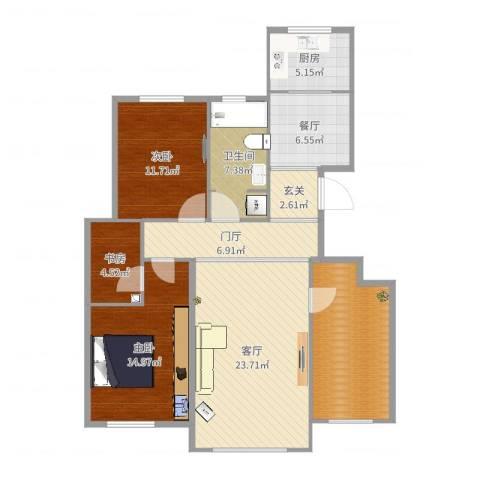 中交樾公馆3室2厅1卫1厨120.00㎡户型图