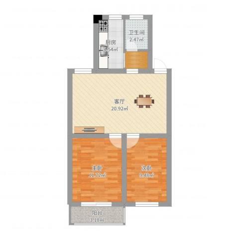 三塘桃园2室1厅1卫1厨67.00㎡户型图