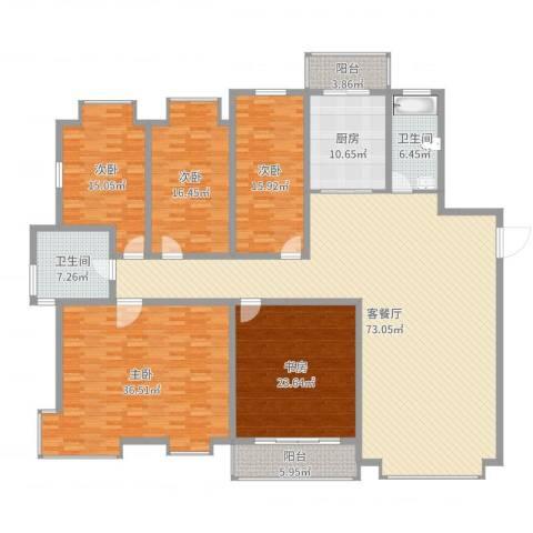 裕丰家园5室2厅2卫1厨268.00㎡户型图