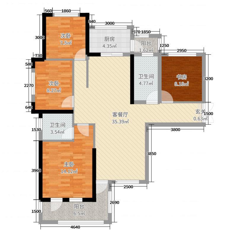 保和墨水湾138.79㎡6、7#A户型4室4厅2卫1厨