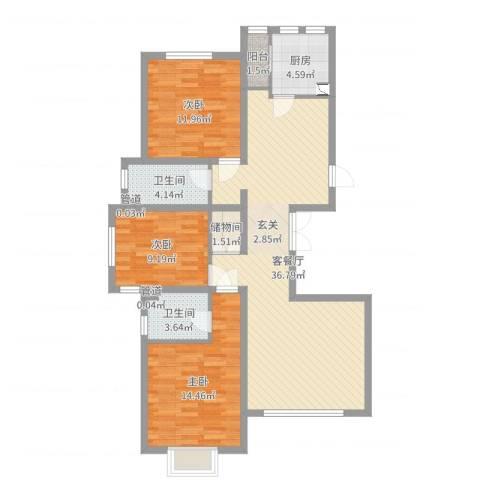 天津市武清区南湖一号3室2厅2卫1厨110.00㎡户型图