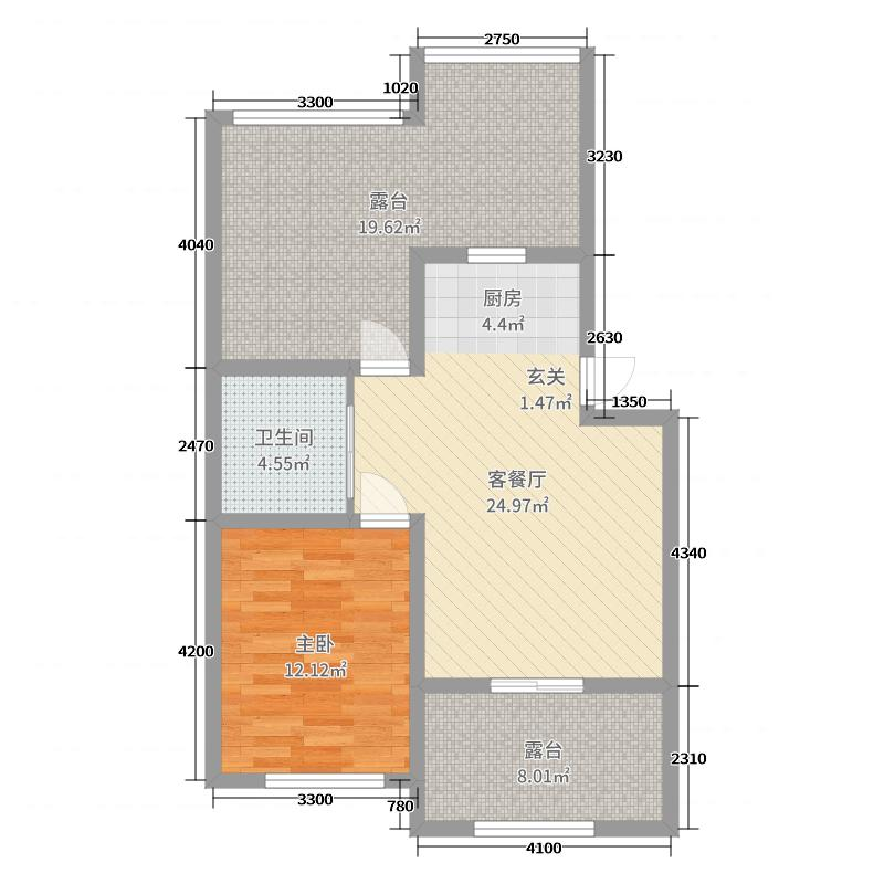 幸福茗苑40.88㎡二期3、5、6号楼标准层H户型1室1厅1卫1厨