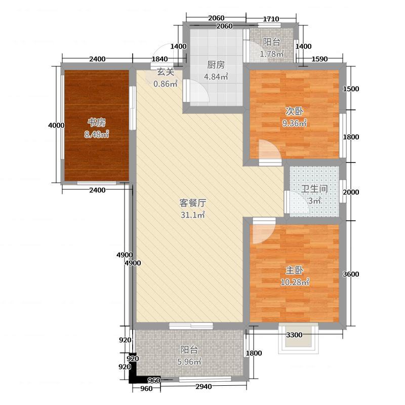 城投时代星城99.50㎡A区2栋3号房户型3室3厅1卫