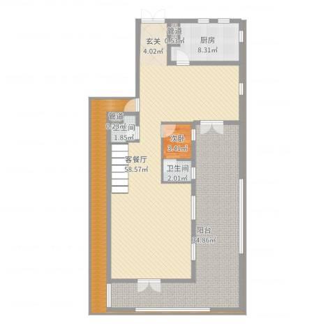 御翠园1室2厅2卫1厨155.00㎡户型图