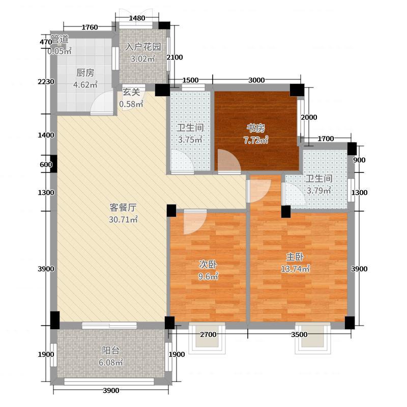 碧园大城小院100.00㎡三期银杏院4#、5#-A1户型3室3厅2卫1厨