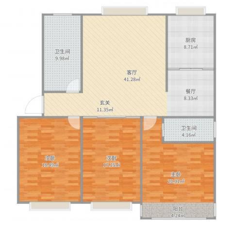 海源府第3室1厅2卫1厨144.00㎡户型图