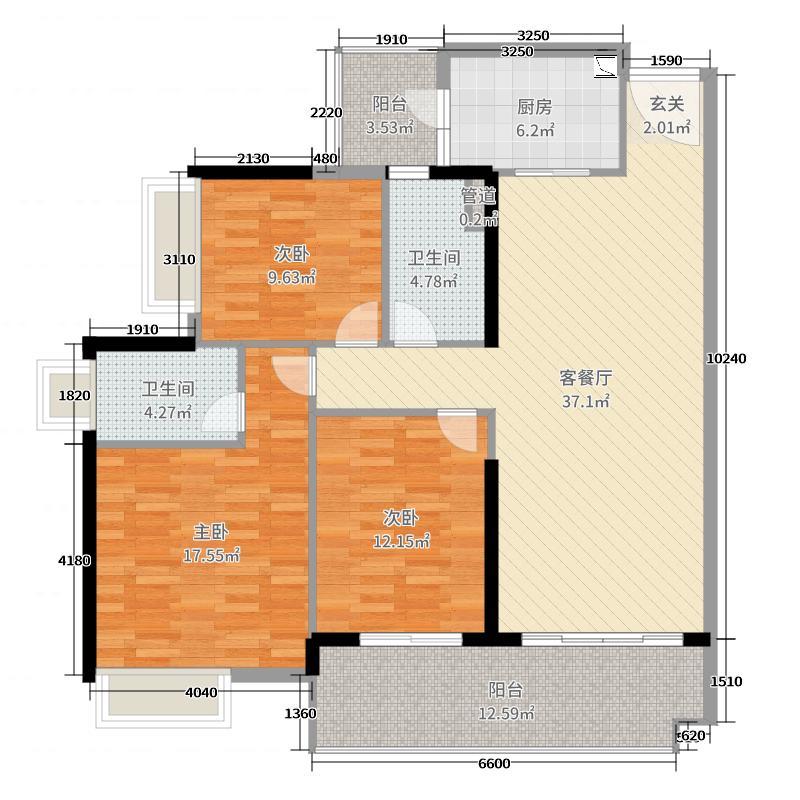 富力东山新天地135.00㎡D1栋02户型3室3厅2卫1厨