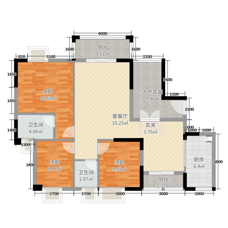 桃源艺境127.00㎡1、2、16栋01、02户型3室3厅2卫1厨
