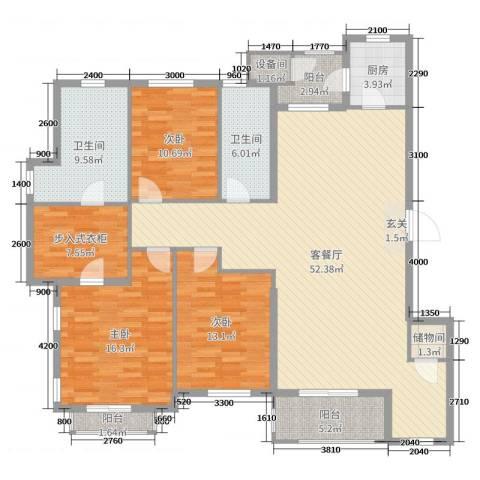 普罗旺斯3室2厅2卫1厨160.00㎡户型图